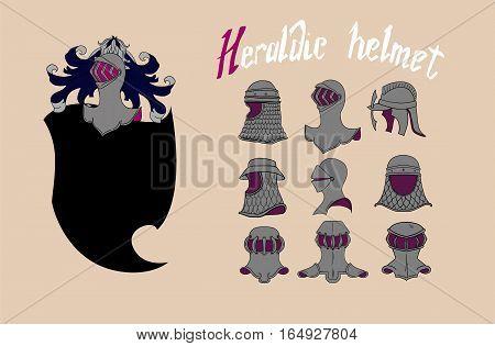 Vector Heraldic collection of helmet .Set  template