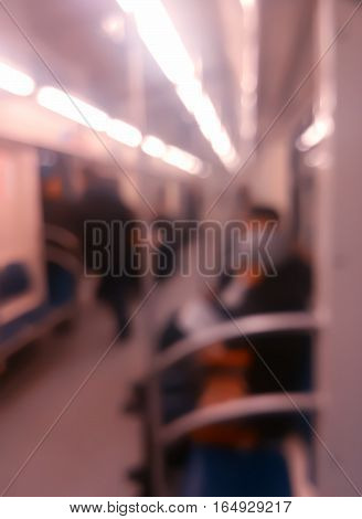 Vertical inside moscow metro carriage bokeh background hd