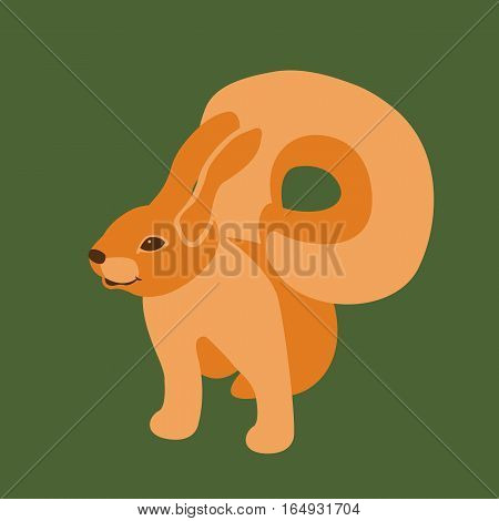 squirrel   vector illustration Flat style side profile