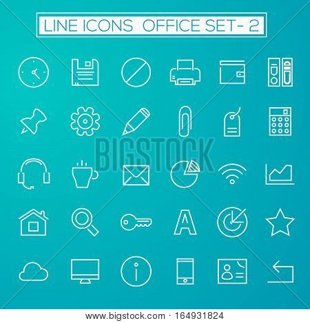 Thin line office icons on emerald, set 2