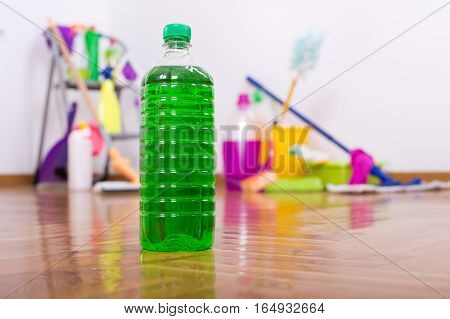 Cleaning Products On Tiled Floor