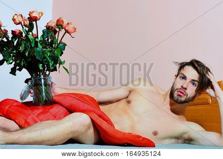 Bearded Macho Man With Roses