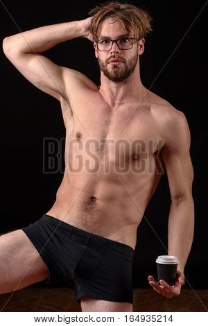 Bearded Sexy Man Holding Coffee
