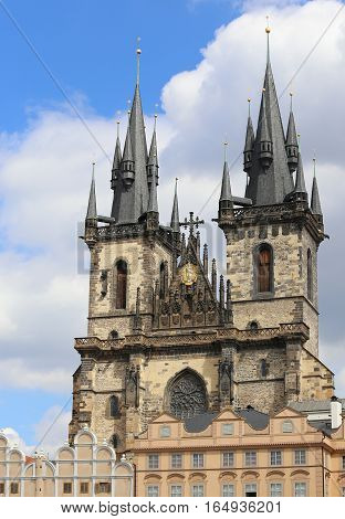 Church Of Our Lady Beforetyn From Old Town Square In Prague