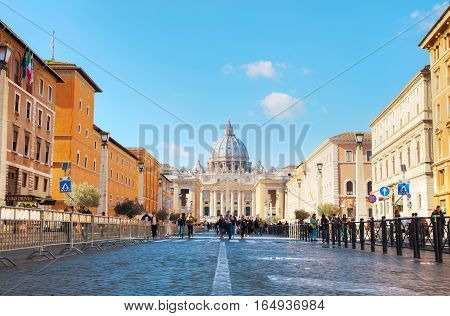 ROME - NOVEMBER 10: The Papal Basilica of St. Peter on November 10 2016 in Rome Italy.