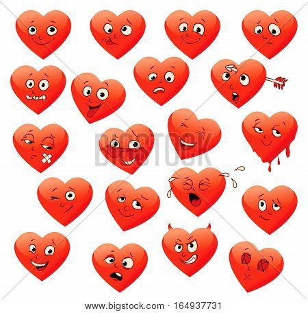 Valentine's set of heart emotions. ( calm, resentful, playful, frightened, sad, satisfied, ailing, thoughtful, jolly, crying, angry, funny, enamored, astonished, laughing ). Vector illustration