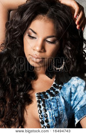 Sexy mulatto girl with long hair