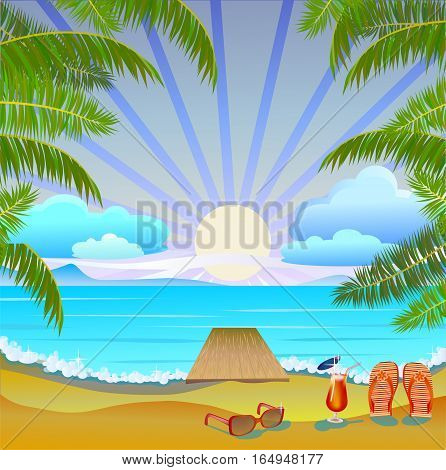 Vector Banner Summer vacation and travel design