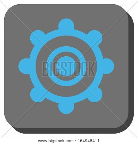 Cog Wheel rounded icon. Vector pictograph style is a flat symbol in a rounded square button blue and gray colors.