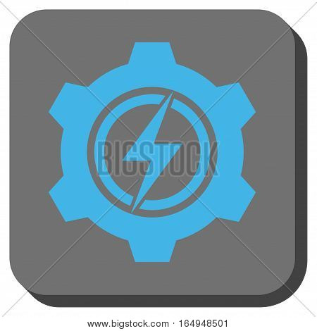 Electric Cogwheel interface toolbar button. Vector pictograph style is a flat symbol inside a rounded square button blue and gray colors.