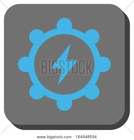 Electric Energy Cogwheel rounded button. Vector pictograph style is a flat symbol on a rounded square button blue and gray colors.
