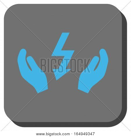 Electrical Power Maintenance Hands interface button. Vector pictogram style is a flat symbol centered in a rounded square button blue and gray colors.