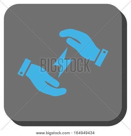 Electricity Care Hands square button. Vector pictogram style is a flat symbol centered in a rounded square button blue and gray colors.
