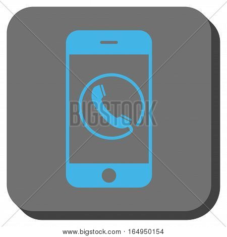 Phone toolbar icon. Vector pictograph style is a flat symbol centered in a rounded square button blue and gray colors.