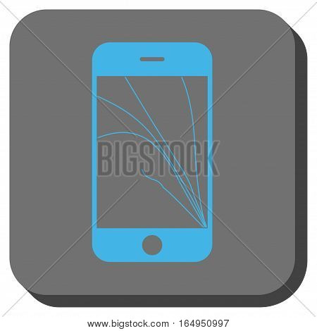 Smartphone Screen Cracks square icon. Vector pictogram style is a flat symbol on a rounded square button blue and gray colors.