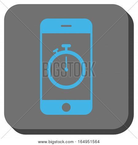 Stopwatch Gadget rounded button. Vector pictogram style is a flat symbol on a rounded square button blue and gray colors.