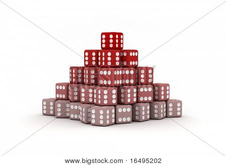 Pyramid Of Dice With Only Sixes On All Side