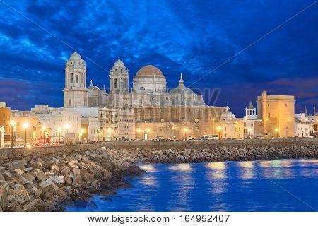 Cathedral de Cadiz in the evening Andalusia Spain