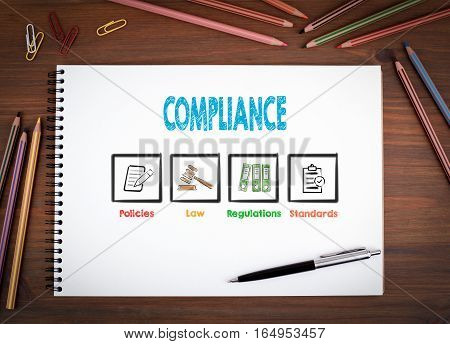 Compliance. Notebooks, pen and colored pencils on a wooden table.
