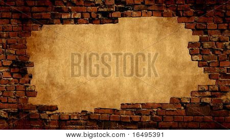 Plaster background with brick wall framing - see more in my portfolio