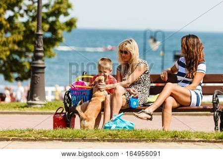 Summer holidays and common travel. Lovely happy active family on vacation trip. Relatives spending enjoyable good time together.
