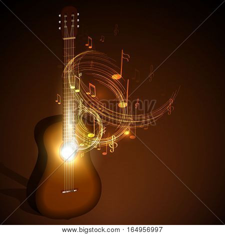 Vector illustration of a classical guitar. The concept of concert music.