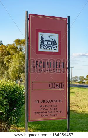 PENOLA SOUTH AUSTRALIA - OCTOBER 27 2016: Sign at entrance to Leconfield vineyards in Coonawarra in South Australia in spring evening sunlight.