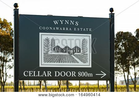 PENOLA SOUTH AUSTRALIA - OCTOBER 27 2016: Sign at entrance to Wynns Eastate vineyards at Coonawarra in South Australia in spring evening sunlight.