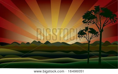 autumn landscape in vector