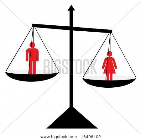 Balance, vector illustration, male/female