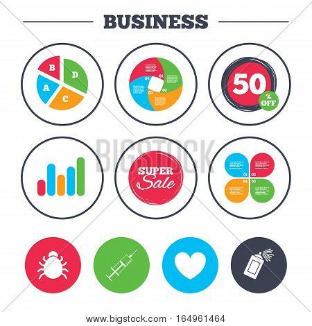 Business pie chart. Growth graph. Bug and vaccine syringe injection icons. Heart and spray can sign symbols. Super sale and discount buttons. Vector