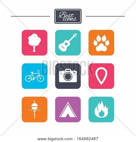 Tourism, camping icons. Fishing, fire and bike signs. Guitar music, photo camera and paw with clutches. Colorful flat square buttons with icons. Vector