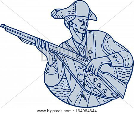 Mono line style illustration of an american patriot minuteman holding rifle looking to the side viewed from front set on isolated white background.