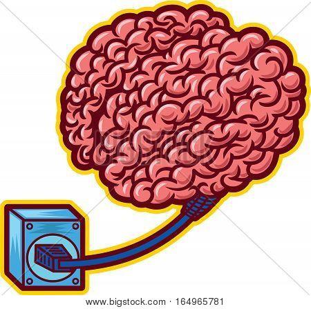 Brain Charging on Power Plug Cartoon Illustration Isolated on White