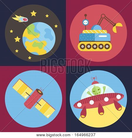 Space objects cartoon icons. Planet Earth with stars and meteor, exploration rover, satellite, alien in flying saucer vectors on blue and red background.