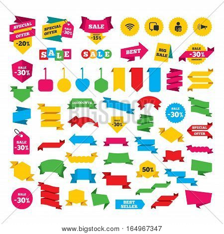 Web stickers, banners and labels. Wifi and chat bubbles icons. Add user and megaphone loudspeaker symbols. Communication signs. Special offer tags. Vector