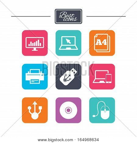 Computer devices icons. Printer, laptop signs. Smartphone, monitor and usb symbols. Colorful flat square buttons with icons. Vector