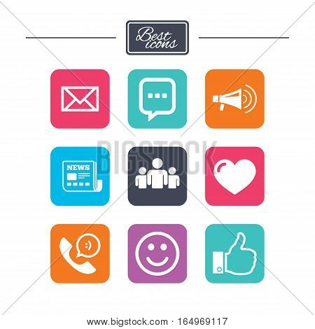 Mail, news icons. Conference, like and group signs. E-mail, chat message and phone call symbols. Colorful flat square buttons with icons. Vector