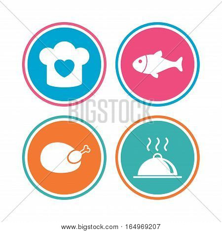 Chief hat with heart and cooking pan icons. Fish and chicken signs. Hot food platter serving symbol. Colored circle buttons. Vector