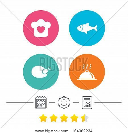 Chief hat with heart and cooking pan icons. Fish and chicken signs. Hot food platter serving symbol. Calendar, cogwheel and report linear icons. Star vote ranking. Vector