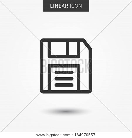 Save icon vector illustration. Isolated floppy disk symbol. Record line concept. Save diskette graphic design. Save data outline symbol for app. Floppy disc pictogram on grey background.