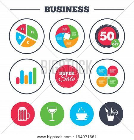 Business pie chart. Growth graph. Drinks icons. Coffee cup and glass of beer symbols. Wine glass and cocktail signs. Super sale and discount buttons. Vector