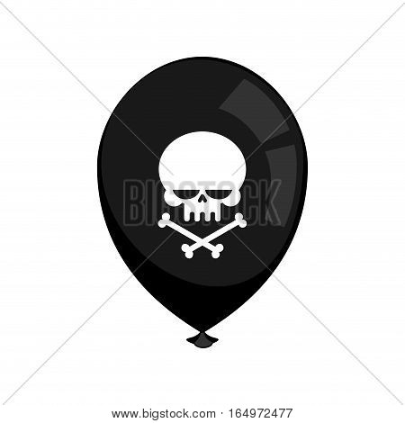 Black Balloon Mourning Isolated. Skull And Crossbones. Bad Holiday
