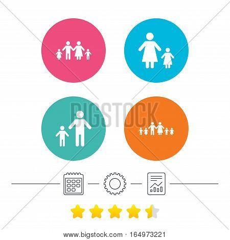 Large family with children icon. Parents and kids symbols. One-parent family signs. Mother and father divorce. Calendar, cogwheel and report linear icons. Star vote ranking. Vector