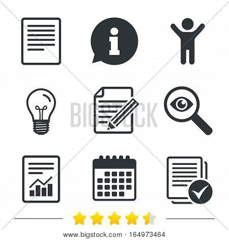 File document icons. Document with chart or graph symbol. Edit content with pencil sign. Select file with checkbox. Information, light bulb and calendar icons. Investigate magnifier. Vector