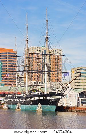 BALTIMORE, MARYLAND, USA - JANUARY 31: U.S.S. Constellation in Inner Harbor on January 31 2014 in Baltimore USA. The last all-sail ship of the U.S. Navy the U.S.S. Constellation docked near the Inner Harbor Amphitheater on Pier 1.