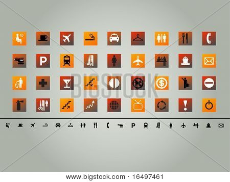 set of 36 various orange theme vector buttons, icons