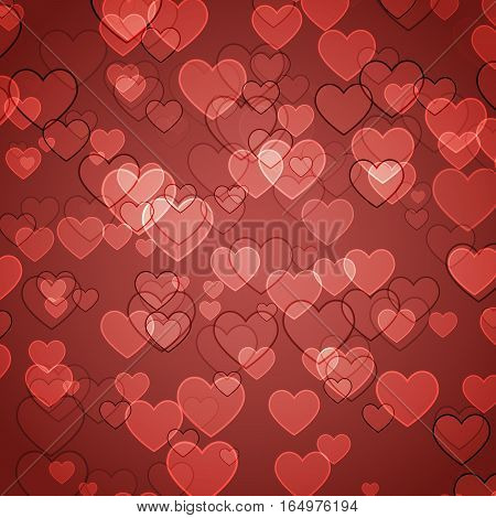 Abstract red background with heart bokeh, stock vector