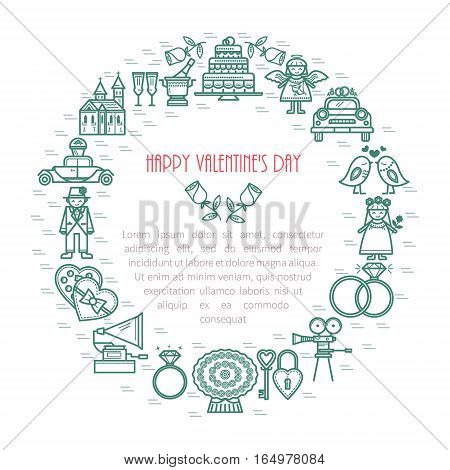 Modern frame with linear icons. Romance. Valentine's Day with the traditional attributes of a holiday and place for text