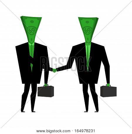 Businessman Handshake. Financial Greet People. Money Transactions